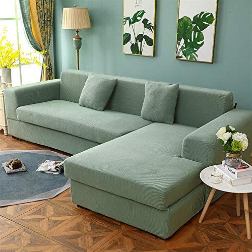 Liveinu Funda de Sofá en Forma de L Jacquard Punto Cubierta de Sofá Elástica Protege Funda para Chaise Longue Sofá 3 Plaza: 190-230cm Verde Menta
