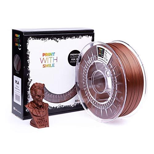Print with Smile 3D Drucker PLA Filament | 1,75 mm für 3D Printer und 3D Stift | hochwertig Filament für 3D-Drucker und 3D-Pen 1000 g (Copper brown)