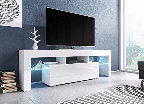Jadella TV Board \'Soro\' Hochglanz Lowboard Cube Matt HiFi Fernseherschrank mit LED, Farbe:weiß matt/weiß Hochglanz