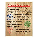 QUMO Memorial Plaque | Gifts | for Mother | Father | DAD | Grandma | Loss of Loved One | A Letter from Heaven Wood Plaque