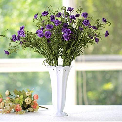 KFDQ Jarrón de cerámica blanco simple Mesa de sala de estar Adornos de decoración de flores artificiales Adecuado para sala de estar, escritorio, hogar, decoración de habitación modelo