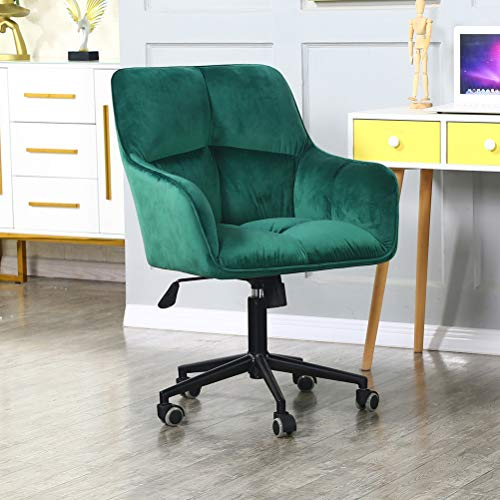 Modern Home Office Desk Chairs 360°Swivel,Velvet Upholstery,Larger Wider Seat,Accent Chair for Desk on Rolling Wheels,Adjustable Swivel Ergonomic Computer Chair with Arms for Home Office(Padded Green)