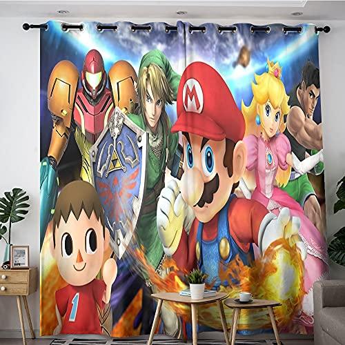 Cortinas opacas aisladas Super Mario Bros. Game Super Mario Poster Cortinas opacas para dormitorio, cocina y sala de estar 157,5 x 183 cm