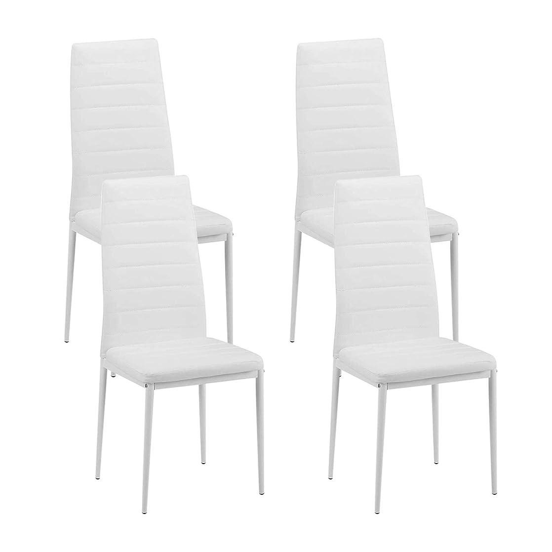 助言水星レディダイニングチェア ハイバック 椅子 イス チェア 食卓椅子 高級レザーメモリークッションチェア、レストラン、ホテル、ダイニングテーブルチェア4脚セット (ホワイト)(欠陥が多く)