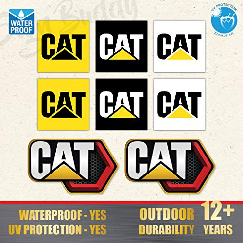 (Pack of 8 pcs) Caterpillar CAT New Diesel Power Logo Vinyl Sticker [2.00 x 2.00 inch, 3.5 x 2.15 inch] Tools Case Shoes Hard Hat Decal Truck Toolbox Label