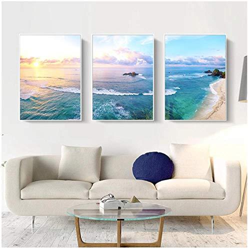 Hermosa vista paisaje marino lienzo pintura pared imágenes artísticas para sala de estar decoración del hogar nórdico 30x40cmx3 sin marco artppolr