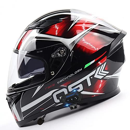 Men Women Integrated Motorcycle Helmet, Bluetooth Full Face Street Bike Crash Helmet, Dot Approved Anti-Fog Dual Visor Flip-Up Motorbike Helmets Hands-Free Automatic Answering D,XL-61-62CM