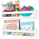 Nursery Shelves - White Floating Nursery Bookshelves - Set of 2 Beautiful Book Shelves - Nursery Decor for Kids Room, Bathroom or Baby Nursery