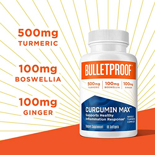 Curcumin Max, 60 Softgels, Bulletproof Keto Supplement for Joint & Inflammation Support & Pain Relief, with 500mg Turmeric Root Complex, Ginger, Boswellia, Stephania, & Brain Octane C8 MCT Oil