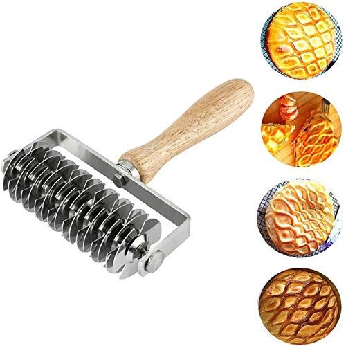 Cortador de rodillo de enrejado de acero inoxidable, cortador de rodillo de masa de enrejado para pizza, para hacer tartas, galletas, pasteles, galletas, pan, herramientas de cocina para hornear