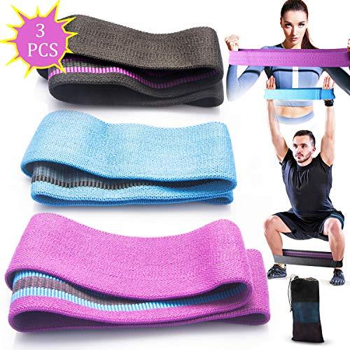 JIPRENS Fitnessbänder Hip Bands Widerstandsbänder Set Doppelseitige Gleitscheiben Stoff Yogaband Resistance Loops in 3 Längen für Hüften und Gesäß, Beine und Ganzkörpertraining für Frauen & Männer