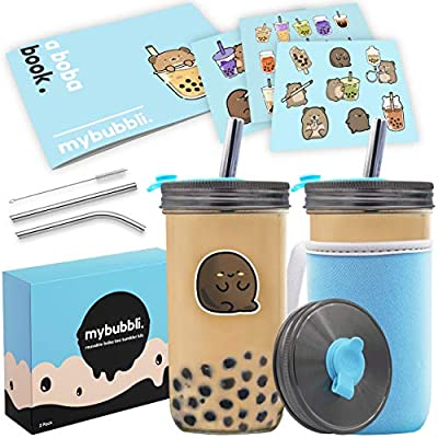Reusable Boba Bubble Tea Cup (2 Pack) - 24oz Bottle With Wide Large Metal Smoothie Straws - Glass Mason Jar & Lids For Travel Perfect For Milk Tea, Tapioca Pearls, Coffee - Bonus Sticker Book & Sleeve