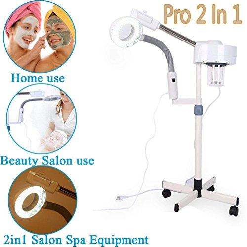 Magnifying Facial Steamer Lamp-2 In 1 Multifunctional Professional 3X Magnifying LED Lamp Machine Spa Salon Beauty Facial Clean Skin(3x)