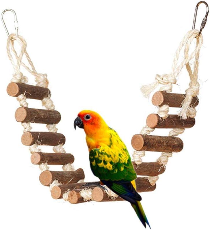 specialty shop Mercu Parrots Toys Washington Mall Natural Wooden Flexible Bridge Ladder Swing