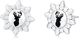 Sponsored Ad - Snowflake Earrings Sterling Silver Elk Snowflake Stud Earrings Christmas Jewelry Gifts for Women Girls