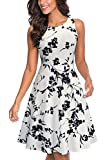 HOMEYEE Women's Sleeveless Cocktail A-Line Embroidery Party Summer Dress A079 (12, White + Black Floral)