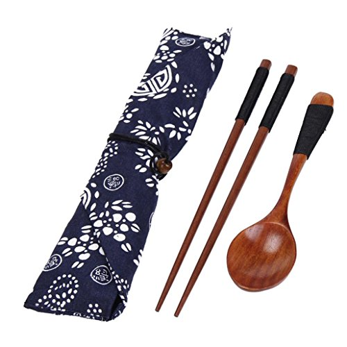 Alonea Portable Wooden Chopsticks Spoon Tableware Set Vintage + Blue Bag (A)