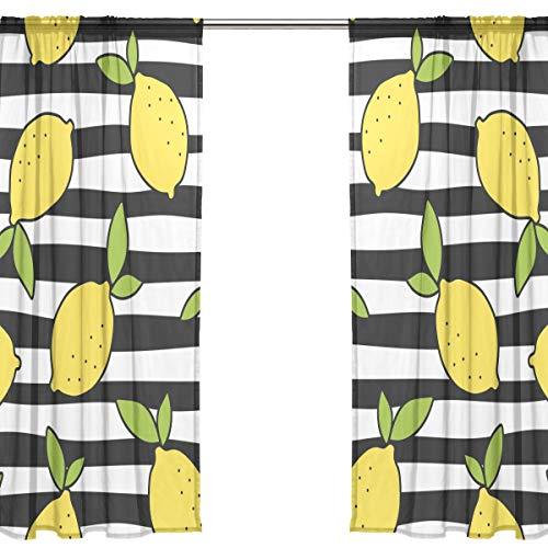 Orediy Voile-Vorhänge, transparent, 2 Vorhänge, Zitronengelb / Schwarz / Weiß gestreift, 40 % Verdunkelungsstab, lang, Vorhang, Fenster-Dekoration, 200 x 140 cm