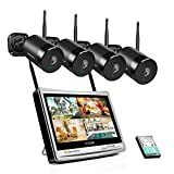 Jennov Security Camera System Wireless Outdoor with 12 inch Monitor, 1080P 4 Black Cameras for Home Security WiFi Video Surveillance NVR Kit Built in 1TB HDD Motion Detection Easy to Install & Use