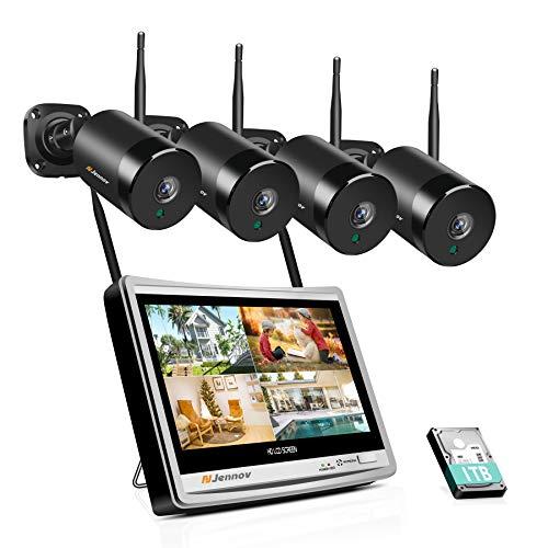 Jennov Juego de cámaras vigilancia para exteriores 5 MP, Wi-Fi, sistema 4 canales, monitor 12 pulgadas, seguridad inalámbricas con grabación sonido preinstalada, disco duro 1 TB NVR