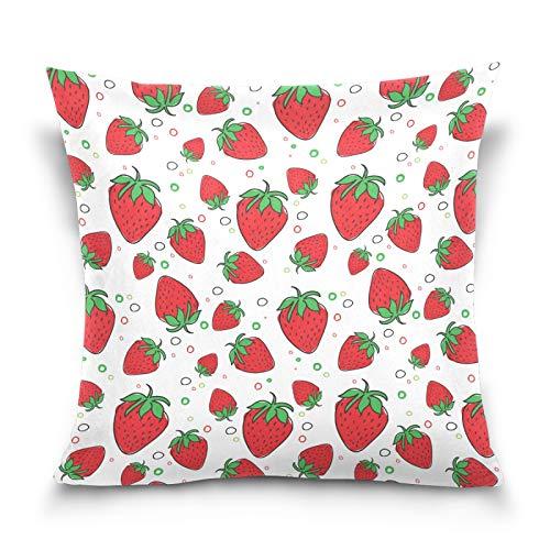 HMZXZ Funda de almohada decorativa de 50,8 x 50,8 cm, diseño de fresas rojas de verano, fundas de almohada para sofá, dormitorio, hogar, sala de estar