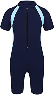 FEESHOW Kids Boys Girls Short Sleeve Wetsuit One Piece Rash Guard Swimsuit Sun Protection Swimwear Surfing Diving Suit