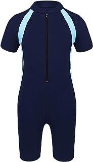Oyolan Baby Boys Swimsuit Kids Girls One Piece Swimwear Short Sleeve UV Protection Wetsuits Zippered Rash Guard with Swimm...