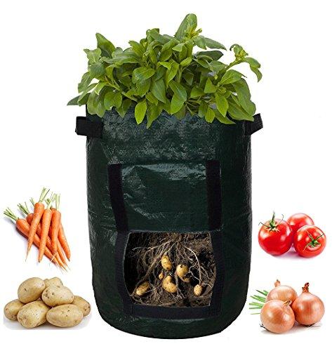 Pflanzen Tasche,Pflanzcontainer, DIY Erdbeeren Grow Bag Pflanzkörbe Tomaten-Pflanztaschen Kartoffel wachsen Pflanzer Tuch Pflanz Container Bag verdicken Garten Topf Pflanzcontainer 34 x 45 cm