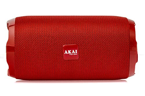AKAI Bluetooth Wireless Speaker Bass Drum BD-22 10 Watt with Subwoofer, AUX in, TF Card, FM (Red)