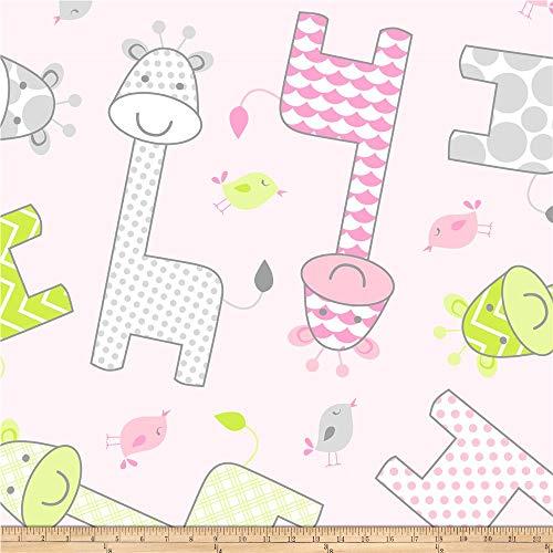 David Textiles Pink Prints Baby Giraffe Fleece Fabric by The Yard
