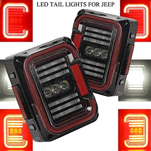 """AUDEXEN LED Tail Lights for Jeep Wrangler JK JKU 2007-2018, Unique""""C"""" Shaped Design Clear Lens, 20W Reverse Lights, Built-in EMC, DOT Compliant, 2 PCS"""