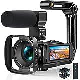 Videocámara Camcorder 2.7K Full HD 36MP IR Night Vision Vlogging Videocámara para Youtube,Zoom Digital 16X, Pantalla táctil LCD de 3,0 Pulgadas,Estabilizador Mano, Mando Distancia,2 Batería