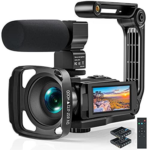 Videokamera 2.7K Camcorder, 2021 Full HD IR Nachtsicht Anti-Shake Vlogging Kamera für YouTube, 3.0' Touchscreen, Mikrofon, Gegenlichtblende, Handstabilisator, Fernbedienung