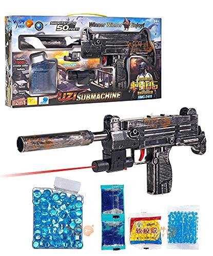 Fun Flow Pubg Theme High Speed Manual Soft Bullet Uzi Gun,2 in 1 Gun with Foam Bullets,Telescope Target Shooting Role Play Game for Kids/Boys/Children/Toy Gun Pistol for Kids,Multi Color.