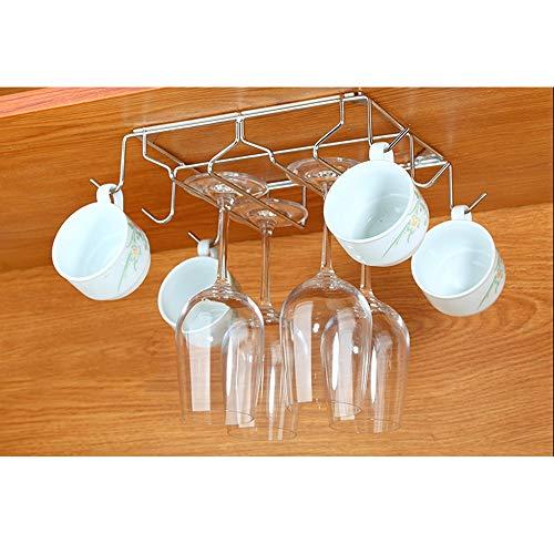 Houder voor wijnglas, 2/3 rijen, creatief onder de kast, voor wijnglas, roestvrij staal, bar, drankhouder, om op te hangen, wijnglas + 2 Slots-18x30cm