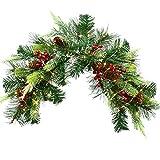 YQing 61cm Navidad Corona Christmas Swag, Swag de buzón de Navidad Preiluminado con Conos de Punta Blanca, Bayas Rojas y Luces LED a Pilas para decoración de Navidad del hogar