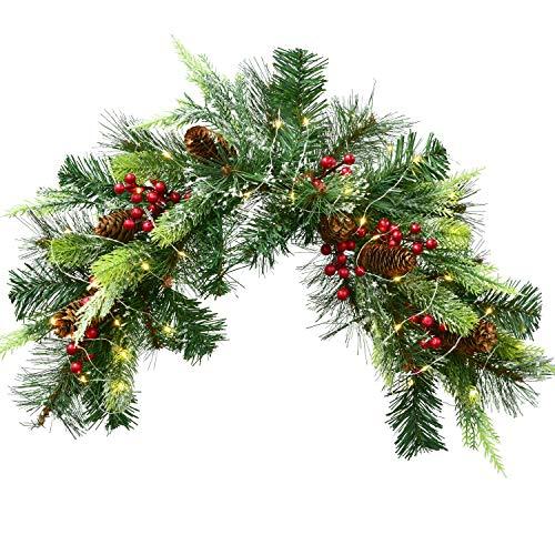YQing - Cassetta delle lettere natalizia, 61 cm, preilluminata, con coni a punta bianca, bacche rosse e luci a LED a...