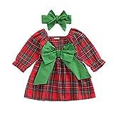 Vestido de Navidad para Bebé Recién Nacida Vestido Navideño a Cuadrados de Manga Larga con Bowknot + Diadema de Lazo para Niña Pequeña de 3 Meses a 3 Años (Rojo, 12-18 Meses)