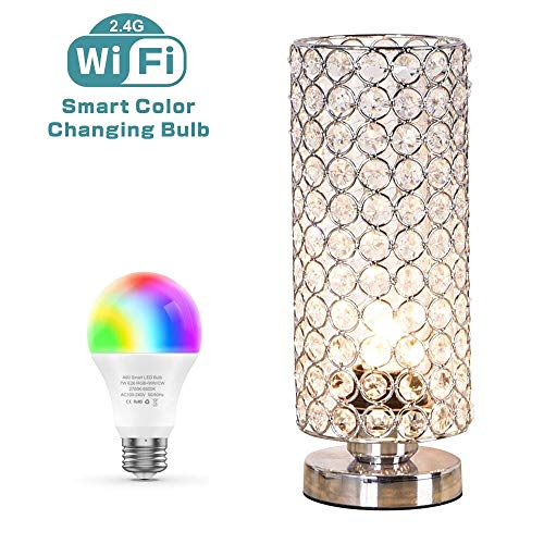 ZEEFO Crystal Table Lamp with WiFi Smart LED Bulb,7W...