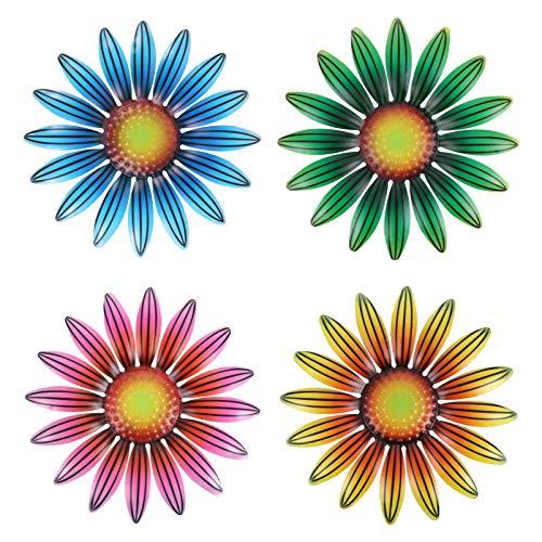 Holibanna 4 Piezas Retro de Hierro Escultura de Flores de Metal Decoración de Pared de Flores Que Cuelgan Decoración de Arte de Flores Decoración de Pared de Flores Adornos Colgantes para