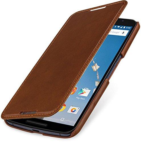 StilGut Book Type Case - ohne Magnet -, Hülle aus Leder für Google Nexus 6 & Motorola Nexus 6, Cognac