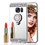 ISADENSER Samsung Galaxy S6 Edge Plus Case Ultra-Slim Glitter Bling Diamond Mirror Makeup Soft Cover with Ring Stand Holder for Samsung Galaxy S6 Edge Plus, Silver Diamond TPU with Stand Holder