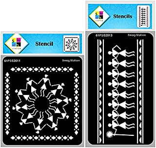 SWAGSTATION Warli Stencils for Painting - Tribal Art Stencils for Craft and Art Set - Tribal Dancers -6X6 Inch 2 Pcs - Reu...