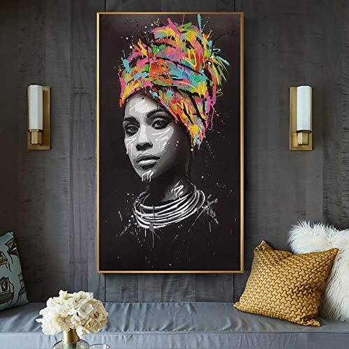 wZUN Carteles de Arte de Graffiti de Mujeres Negras africanas abstractas y decoración del hogar Grabados de Cobre Lienzo Pintura en Cuadros de Arte de Pared 60X100CM