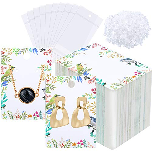 600 Pieces Earring Display Card Holder Set Includes 150 Pieces Floral Colorful Jewelry Display Cards Paper Tags 150 Pieces Self-Seal Bags 300 Pieces Earring Backs for Jewelry Packing, 2 x 2.8 Inch