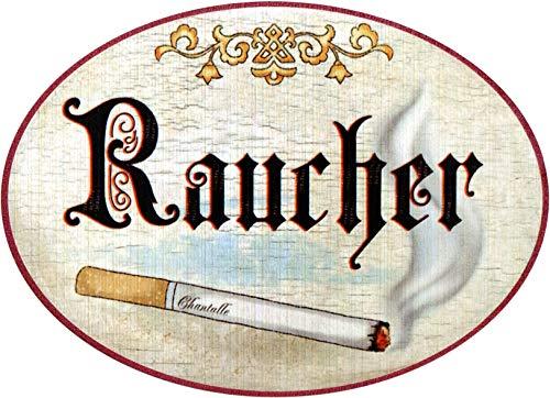 Kaltner Präsente Geschenkidee - Holz Geschenkartikel Deko Türschild im Antik Design Dekoartikel Motiv Zigarette Raucherzimmer Raucher (Ø 18 cm)
