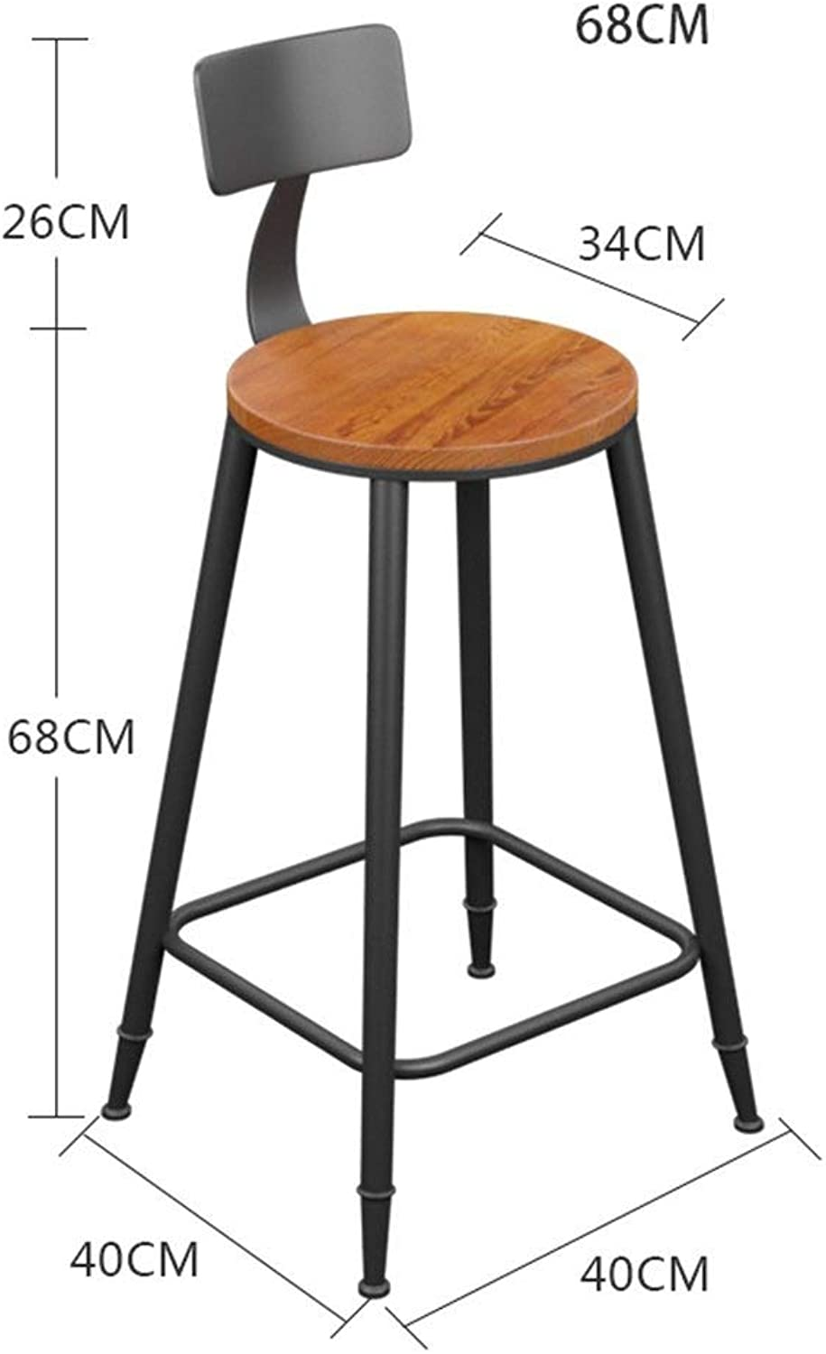 Natural Pine Industrial Style Retro Bar Chair Kitchen Chair Dining Chair Continental Breakfast Chair HENGXIAO (color   Wood seat-68cm)