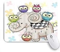 ZOMOY マウスパッド 個性的 おしゃれ 柔軟 かわいい ゴム製裏面 ゲーミングマウスパッド PC ノートパソコン オフィス用 デスクマット 滑り止め 耐久性が良い おもしろいパターン (かわいい漫画象と花の背景のフクロウ)