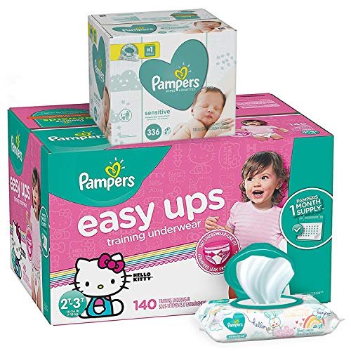 Pampers Bundle - Easy Ups Training Underwear Pull On Disposable Diapers for Girls, Size 4 (2T-3T), 140 Count, ONE MONTH SUPPLY with Baby Wipes Sensitive 6X Pop-Top Packs, 336 Count