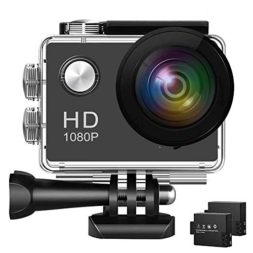 Action Camera 1080P WiFi Sports Camera 12MP Underwater Waterproof Camera with Wide-Angle Lens and Mounting Accessory Kits